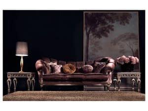 Valeria Sofa, Luxus klassisches Sofa, von Hand geschnitzt, für das Büro