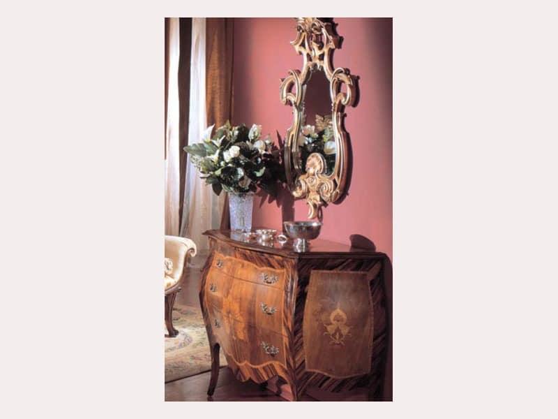 3245 MIRROR, Luxus klassischen Spiegel, endet in Blattsilber