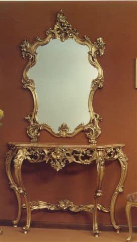 565 SPIEGEL, Spiegel mit geschnitzten Rahmen mit Blattgold Finish