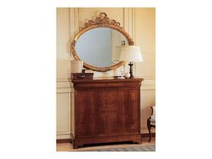 Art. 2170/0 '800 Francese Luigi Filippo, Eleganter ovaler Spiegel, Rahmen mit Blattgold-Finish, handgeschnitzt