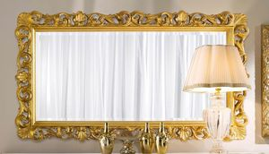 Chippendale rechteckiger Spiegel Gold, Goldener Spiegel im klassischen Stil