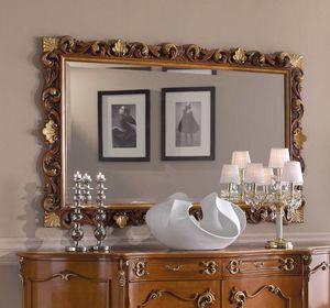Chippendale rechteckiger Spiegel, Klassischer Spiegel, geschnitzter Rahmen