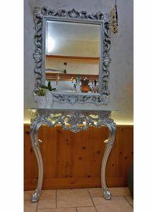 Edera Spiegel, Klassische rechteckiger Spiegel mit Silber lieaf Veredelungen
