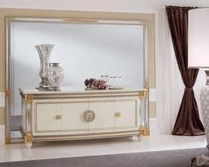 Liberty Spiegel, Spiegel mit großzügigen Abmessungen, stilvoll, wie raffiniert, mit geschnitzten Holzrahmen