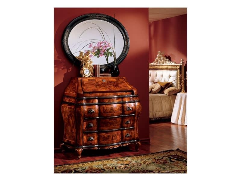 Milano mirror 834, Oval Spiegel mit Holzrahmen, Luxus classic