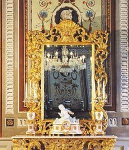 Opera Spiegel, Luxuriöse Spiegel für klassische Zimmer, Rahmen in handgeschnitzte Holz, mit antiken Gold-Finish
