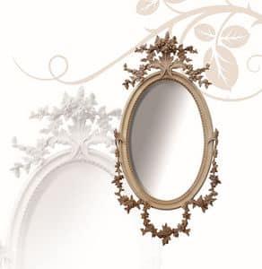Spiegel art. 177, Ovaler Spiegel, aus Lindenholz, fein mit Blumen handgeschnitzten
