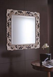 Virgola Small, Spiegel mit geschnitztem Holzrahmen