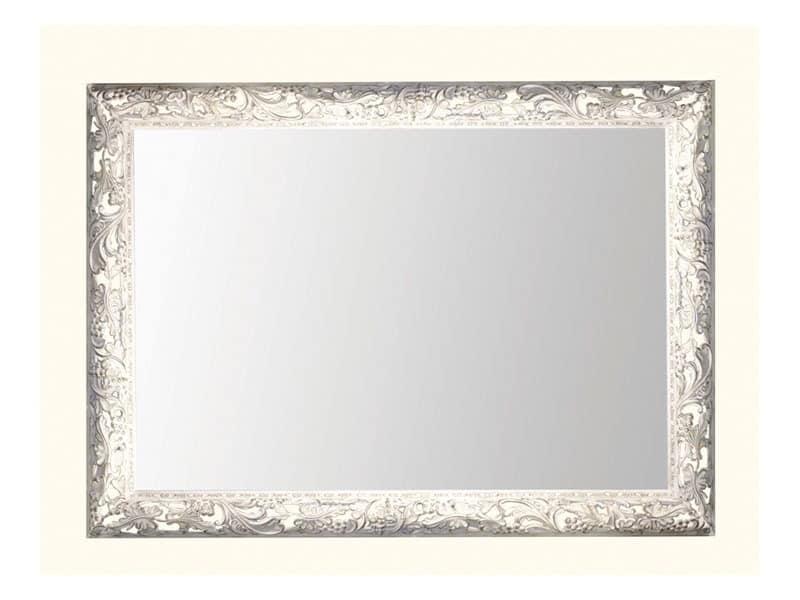 Wall Mirror art. 104, Spiegel mit Rahmen aus Holz mit Weinblättern dekoriert