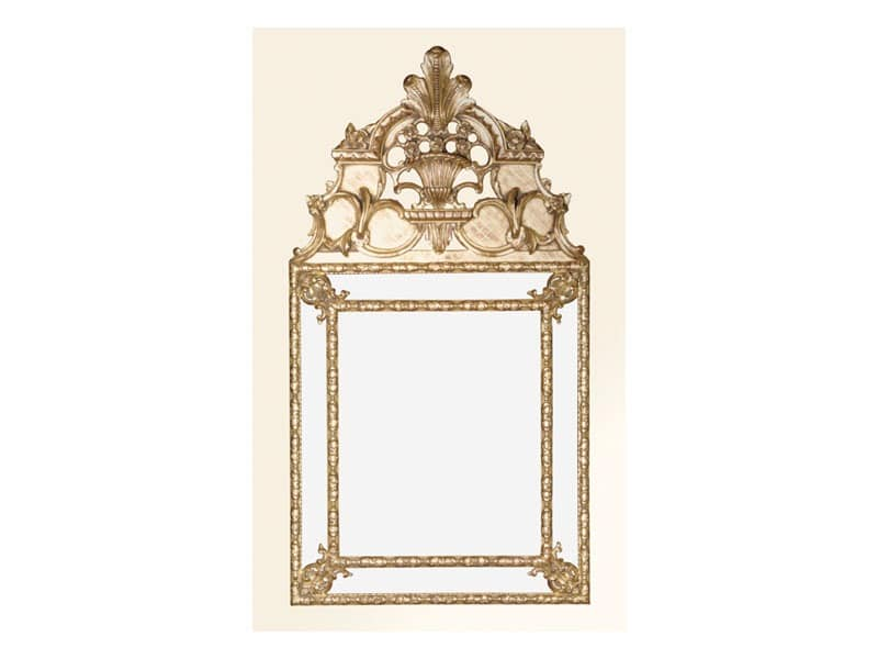 Wall Mirror art. 105, Platz Spiegel mit verzierten Rahmen, Louis XIV-Stil