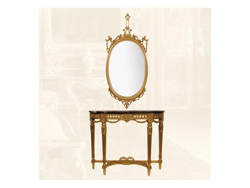 Wall Mirror art. 111/a, Ovalen Spiegel aus Lindenholz gefertigt, klassischer Stil