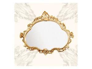 Wall Mirror art. 120, Spiegel mit Holzrahmen, spätbarocken Stil