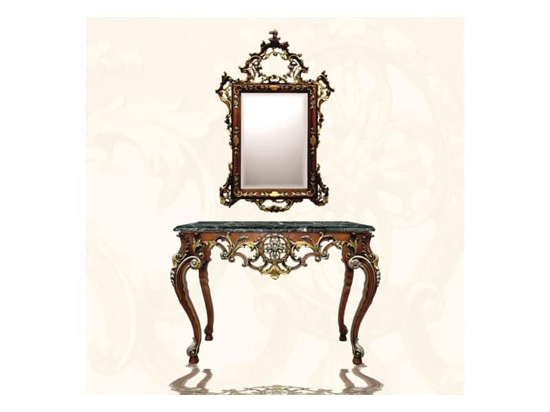 Wall Mirror art. 122, Rechteckiger Spiegel mit Rahmen, Stil Louis XV