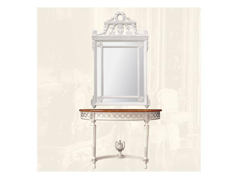 Wall Mirror art. 131, Rechteckiger Spiegel mit Holzrahmen, im Stil Louis XVI