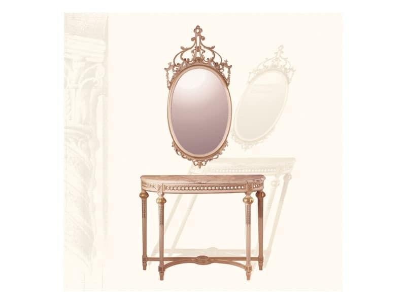 Wall Mirror art. 134, Spiegel oval mit geschnitzten Formen, Stil Louis XVI