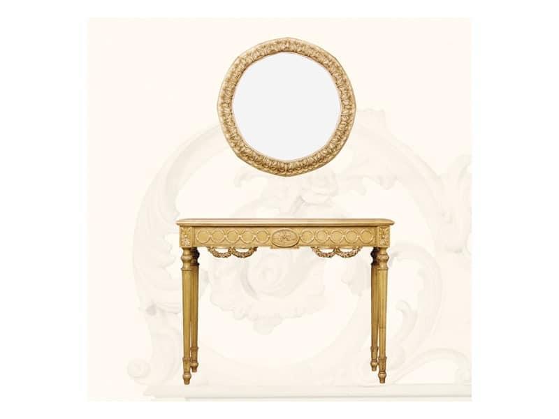 Wall Mirror art. 136, Runden Spiegel mit Rahmen, Louis XVI-Stil