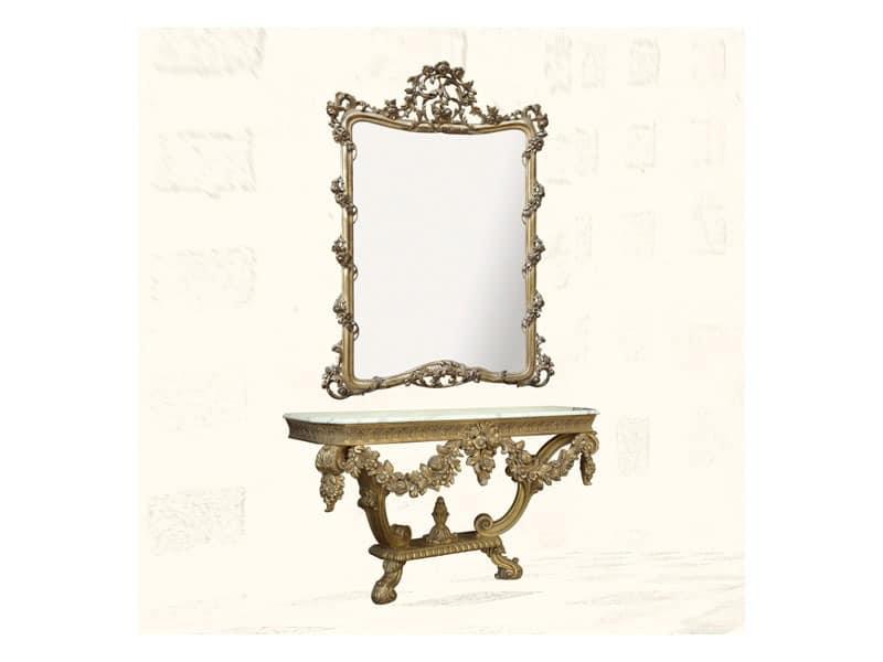 Wall Mirror art. 150, Spiegel mit Veredelungen in Blattgold, Stil Louis XV