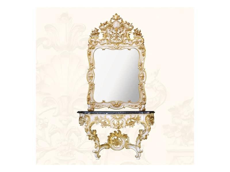 Wall Mirror art. 157, Spiegel mit verzierten Rahmen, Rokoko-Stil