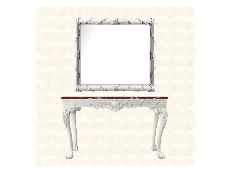 Wall Mirror art. 160, Spiegel mit Rahmen verziert mit Blumenkranz