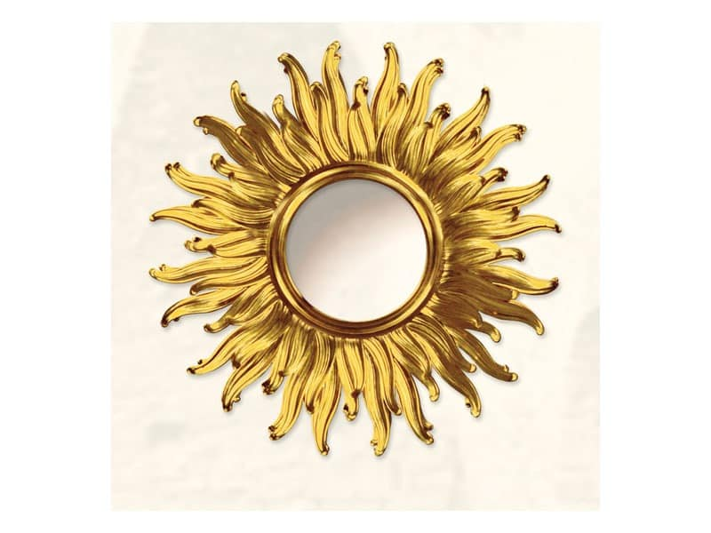 Wall Mirror art. Big Light, Großer Spiegel mit Sonne Form, gold Finishs