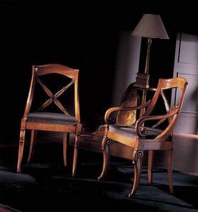 251S, Stuhl aus dekoriertem Holz