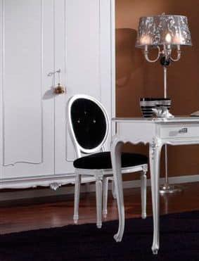 3620 STUHL, Chair weiß lackiert, gesteppten Sitz, für Esszimmer