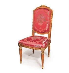 505/B, Klassischen Stil Stuhl für Esszimmer, Veredelungen mit Blattgold