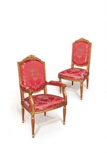 506/B, Klassischer Stuhl mit Armlehnen Gold Veredelungen für Esszimmer geeignet