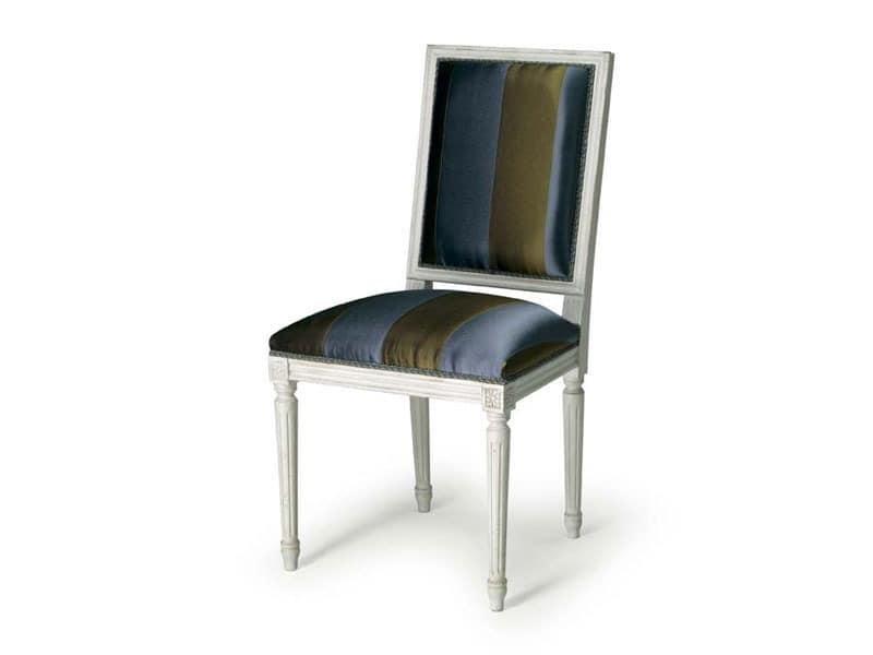 Art.102 chair, Stuhl mit Polsterung für Speisesäle, im Stil Louis XVI