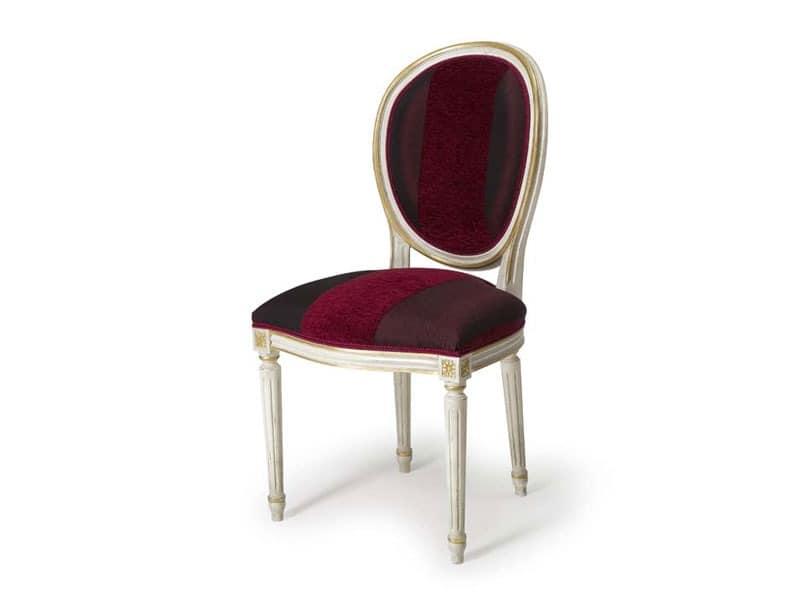 Art.104 chair, Stuhl mit oval gepolsterte Rückenlehne, im Stil Louis XVI