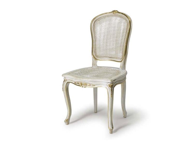 art.108 Stuhl, Stuhl mit Sitz und Rückenlehne aus Stroh, Stil Louis XV