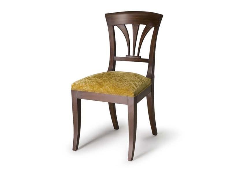 Art.133 chair, Stuhl mit Rückenlehne aus Holz, klassischen Stil