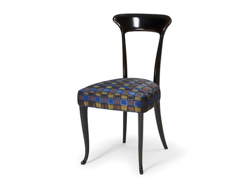 Art.190 chair, Klassischer Stuhl in Buche mit gepolstertem Sitz, für Restaurants