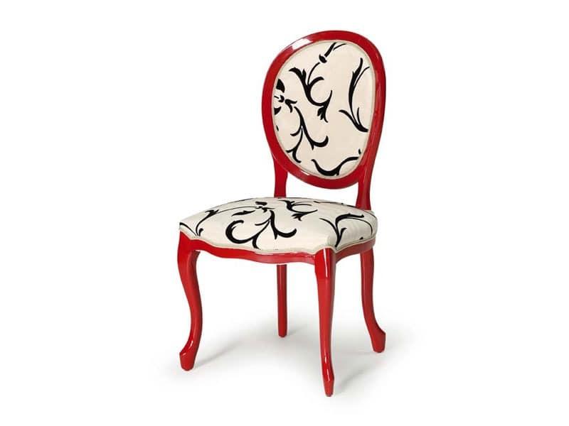Art.417 chair, Stuhl aus poliertem Holz, Sitz- und Rückenpolster