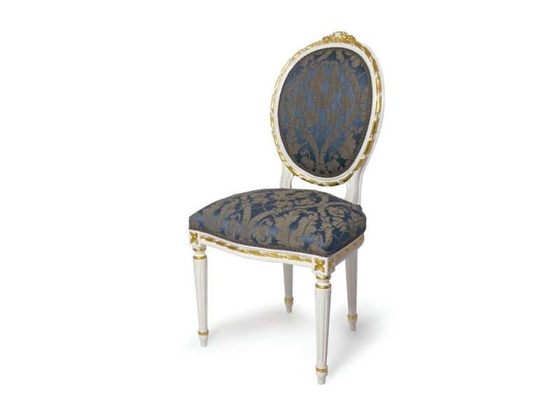 Art.439 chair, Polsterstuhl mit ovalem Rückenlehne, im Stil Louis XVI