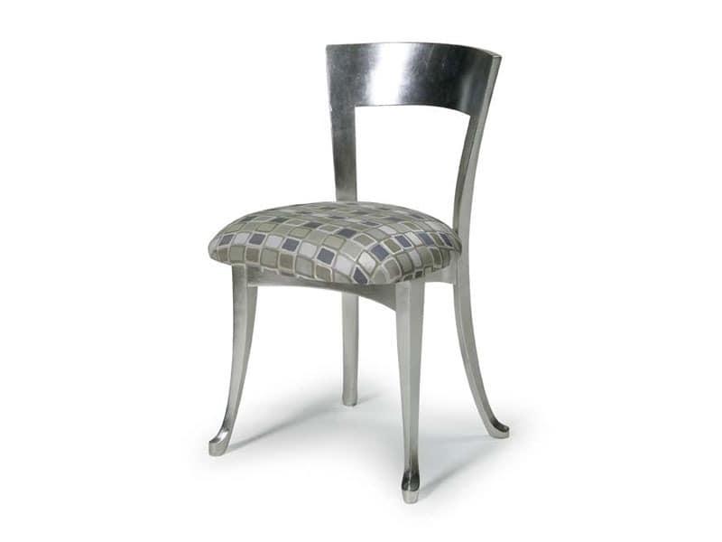 Art.446 chair, Holzstuhl mit gepolstertem Sitz, klassischer Stil