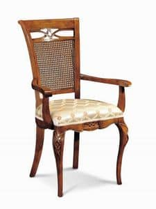 Art. 507p, Stuhl luxuriös, mit Schnitzereien und Inlays und Zuckerrohr Rückenlehne