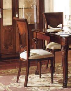 Canova Stuhl, Klassischer Stuhl in Nussbaum, von Handwerkern geschnitzt
