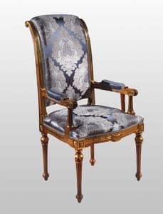 F500 Stuhl, Leiter der Tabelle im klassischen Luxus-Stil, in festem Holz geschnitzt