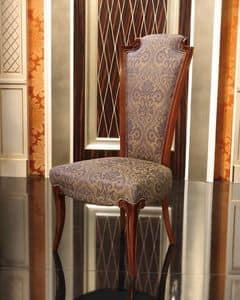 Impero Stuhl, Klassische gepolsterter Stuhl aus Holz mit hoher Rückenlehne