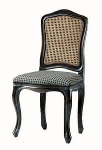 Kandisky RA.0985, Stuhl in schwarz lackiert, Sitz gepolstert, Stroh auf dem Rücken