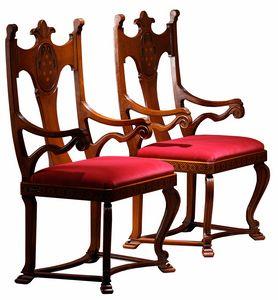 Lacona ME.0980, Stuhl mit Armlehnen, mit geschnitzter und eingelegter Rückenlehne
