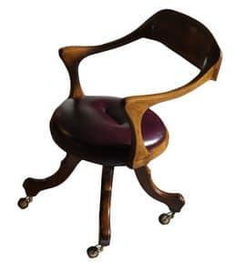 Le Havre VS.0226.PE, Stuhl mit Rollen Nussbaum, mit Leder bezogen, für das Büro