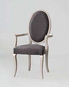 S16P, Eleganter Stuhl mit Armlehnen, ovale Rückenlehne