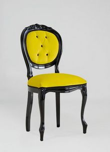 S17, Klassischer Stuhl aus schwarz lackiertem Holz