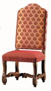 Seurat RA.0989, Geschnitzt Nussbaum Stuhl, gepolsterter Sitz und Rücken
