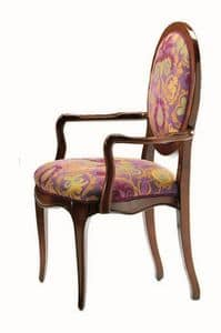 Verrocchio RA.0994, Kopf des Tisches Stuhl in Nussbaum, rundem Rücken, klassisch
