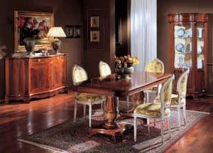 3190 TABLE, Intarsien Holztisch, mit 2 Betten, für Klassiker Wohnzimmer