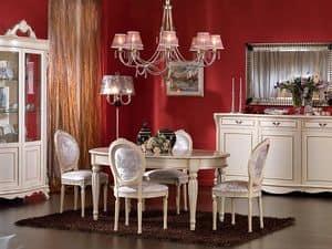 3440 TABLE, Feste ovalen Tisch, lackiert, für klassische Aufenthalte