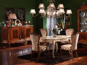 3480 TABELLE, Geschnitzt ovalen Tisch, im Stil Louis XV, lackierte Oberflächen